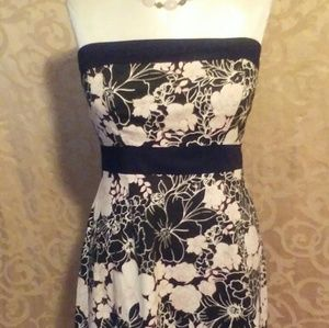 Strapless Floral Dress Black and White Size 12